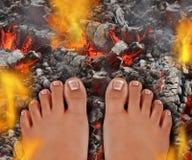 Passeggiata su fuoco Fotografie Stock