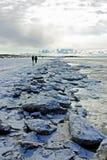 Passeggiata su una spiaggia di inverno Fotografia Stock