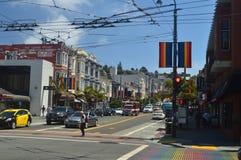 Passeggiata tramite le vie della vicinanza di San Francisco We Find The Castro Feste Arquitecture di viaggio fotografie stock libere da diritti