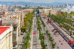 Passeig de Colom in Barcelona, Catalonia, Spain Stock Images