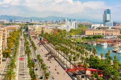 Passeig de Colom in Barcelona, Catalonia, Spain Stock Photos