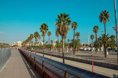 Passeig de Colom promenade at Barcelona city beach. Marina on the right side Royalty Free Stock Photography