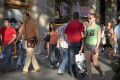 Passeig de Gr�cia in the Eixample district, busy street in Barcelona, Spain, Europe Royalty Free Stock Photos