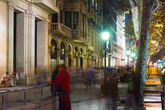 Passeig de Gracia  in autumn night. Barcelona Royalty Free Stock Photography
