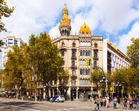 Passeig de Gracia. Barcelona. BARCELONA, SPAIN - SEPTEMBER 12: Cases Pons on September 12, 2013 in Barcelona, Spain Royalty Free Stock Images