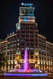 Passeig DE Gracia Fountain in Barcelona, Spanje Stock Foto's