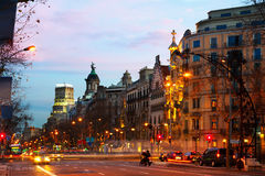 Passeig de Gracia  in winter dawn. Barcelona, Spain Royalty Free Stock Images