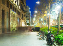 Passeig de Gracia in winter evening. Barcelona Royalty Free Stock Photos