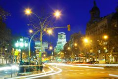 Passeig de Gracia in winter night. Barcelona, Spain Royalty Free Stock Photo