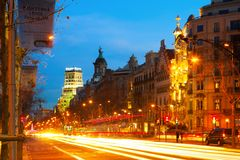 Passeig de Gracia in winter night at Barcelona Royalty Free Stock Image