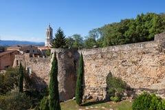 Passeig de la Muralla Old City Wall in Girona Royalty Free Stock Photos