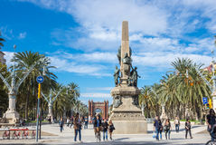 Passeig de Lluis Companys. BARCELONA, SPAIN - OCTOBER 22, 2015: Tourists walking on Passeig de Lluis Companys, promenade in Barcelona, the capital city of the Royalty Free Stock Photo
