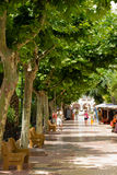 Passeig de Salamera in Santa Eularia des Riu. Square with a small hippie market on the Passeig de Salamera in Santa Eularia des Riu on the isle of Ibiza (Spain Stock Images