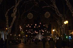 Passeig des Urodzony z bożonarodzeniowe światła Fotografia Stock