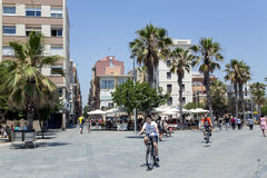 Passeig Maritim on the seaside in Barcelona Royalty Free Stock Photo