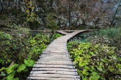 Passeio à beira mar de madeira com a Croácia dos lagos Plitvice Foto de Stock