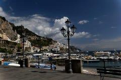 Passeio à beira mar em Positano, Itália Fotografia de Stock