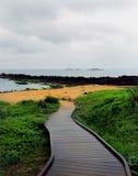 Passeio à beira mar, parque de Yehliu Geopark, Taiwan Fotos de Stock