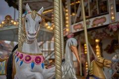 Passeio antiquado do recinto de diversão do carrossel, Strasbourg imagem de stock royalty free