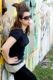 Passeio da menina do punk ao ar livre fotografia de stock royalty free