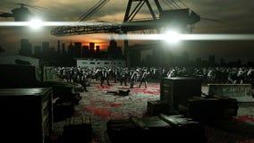 Passeio da multidão do zombi do horror Opinião do apocalipse, conceito Animação 4K realística ilustração do vetor