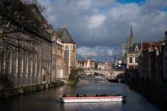 Passeio do barco em Ghent, Bélgica fotos de stock royalty free