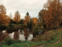 Passeio do outono no parque com rio Fotos de Stock Royalty Free