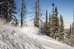 Passeio do Snowboarder na neve do pó às montanhas Freeride dos esportes de inverno Imagem de Stock