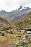 Passeio em a montanha de Huayhuash, Peru imagens de stock royalty free