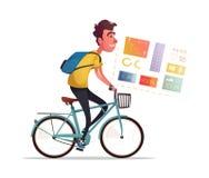 Passeio engraçado do homem uma bicicleta Bicicleta do vintage Ilustração do vetor dos desenhos animados Imagem de Stock Royalty Free