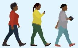 Passeio excesso de peso das mulheres negras ilustração royalty free