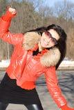 Passeio feliz da menina ao ar livre fotografia de stock royalty free