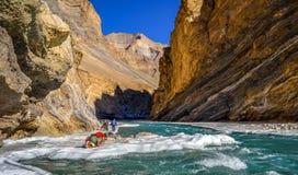 Passeio na montanha de Chadar, Zanskar, Índia fotos de stock royalty free