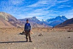 Passeio na montanha do circuito de Annapurna, Nepal Fotos de Stock Royalty Free