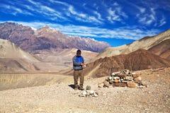 Passeio na montanha do circuito de Annapurna, Nepal Imagem de Stock