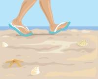 Passeio na praia ilustração stock