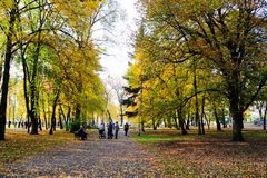 Passeio no parque do quadrado da catedral na cidade de Vilnius Imagens de Stock