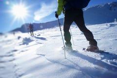 Passeio no sapatos de neve em um platô nevado da montanha Imagens de Stock Royalty Free