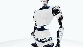 Passeio 'sexy' da mulher do androide do robô Menina robótico à moda da ficção científica Mulher bonito do robô Animação do CG ilustração royalty free