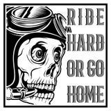 Passeio vestindo do capacete e do texto do piloto do café do crânio do vintage duramente ou para ir em casa ilustração stock