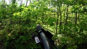 Passeios da bicicleta nas madeiras dirigir passeios da bicicleta nas madeiras dirigir video estoque