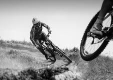 Passeios de Mountainbiker no trajeto do monte, preto e branco Fotografia de Stock Royalty Free