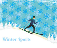 Passeios do menino em esquis no dia de inverno Fotografia de Stock Royalty Free