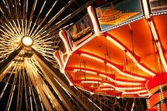 Passeios iluminados no cais da marinha, Chicago Imagem de Stock Royalty Free