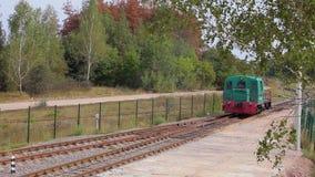 Passeios locomotivos pelo trilho Lugar locomotivos em Forest Railway vídeos de arquivo