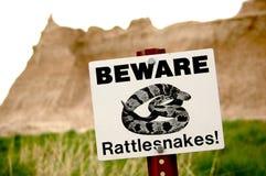 Passen Sie auf! Klapperschlangen in den Ödländern stockbild