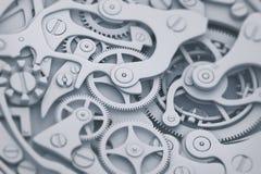 Passen Sie Mechanismus in der Grauer und der Blautöne 3D Illustration mit Gängen auf Lizenzfreies Stockbild