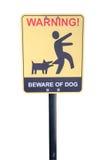 Passen Sie vom tollwütigen Hund - Warnzeichen auf. Stockfotos
