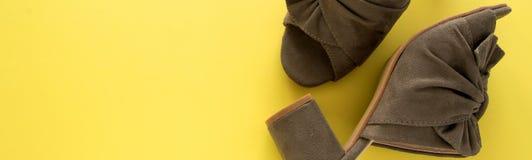 Passen Sie von den Maultieren/verstopft militärische grüne Farbe auf neuem gelbem Hintergrund zusammen stockfoto
