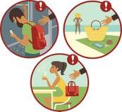 Passen Sie von den Taschendieben auf lizenzfreie abbildung